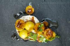 Fromage de chèvre et abricots - Recette/stylisme : Patrice Taravella et Stéphane Brunet